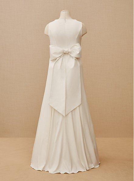Ivory Satin Bow Back Mermaid Wedding Dress, CLOUD DANCER, hi-res