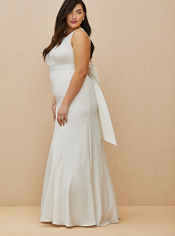 Plus Size Ivory Satin Bow Back Mermaid Wedding Dress, , hi-res
