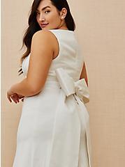 Ivory Satin Bow Back Mermaid Wedding Dress, , fitModel1-alternate