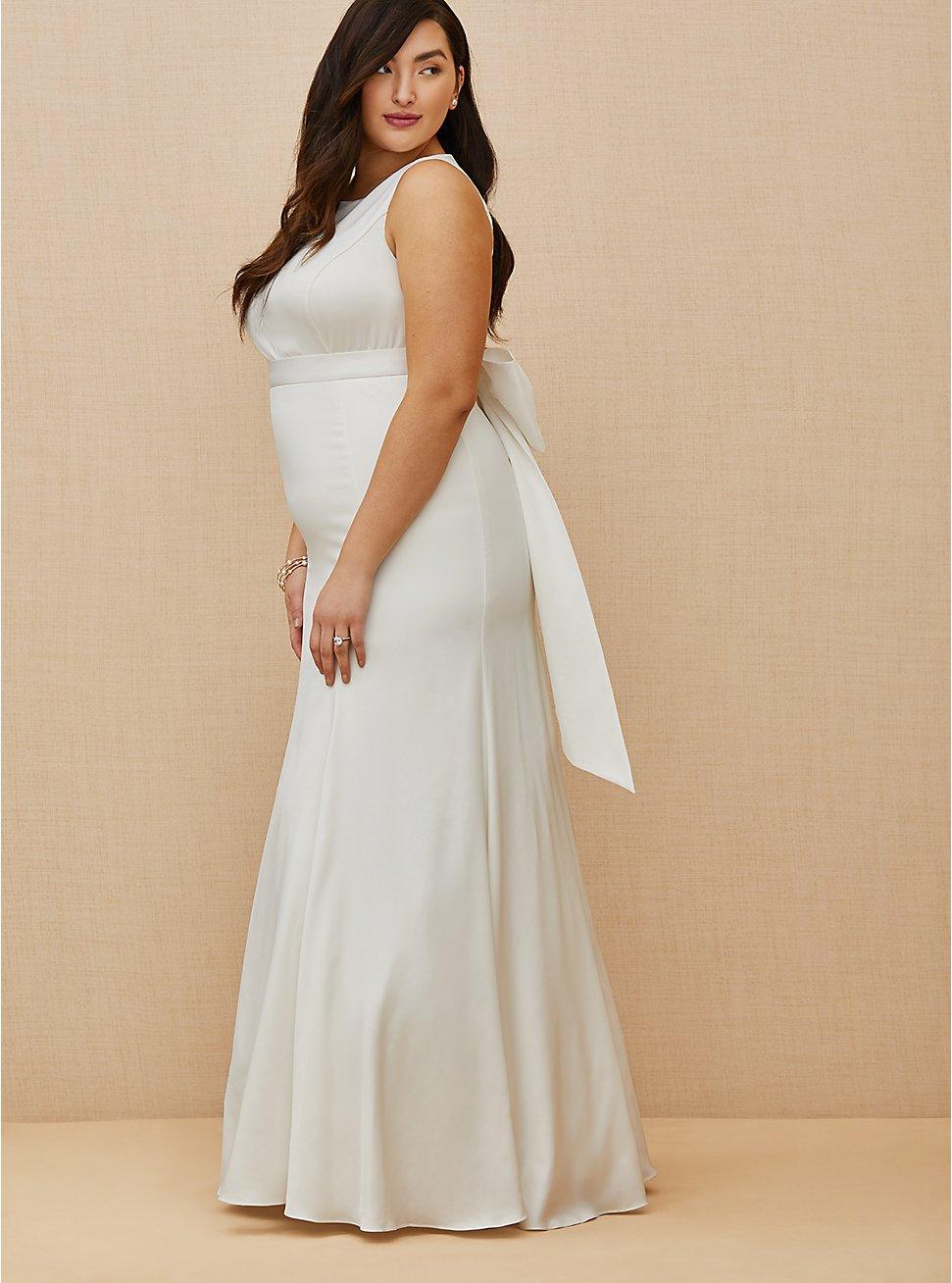 Ivory Satin Bow Back Mermaid Wedding Dress, , fitModel1-hires