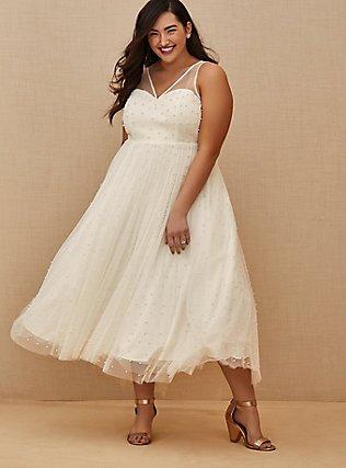 Ivory Mesh Faux Pearl Tea-Length Wedding Dress, CLOUD DANCER, alternate