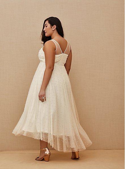 Plus Size Ivory Mesh Faux Pearl Tea-Length Wedding Dress, CLOUD DANCER, alternate