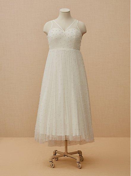 Plus Size Ivory Mesh Faux Pearl Tea-Length Wedding Dress, CLOUD DANCER, hi-res