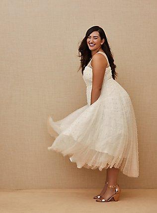 Ivory Mesh Faux Pearl Tea-Length Wedding Dress, CLOUD DANCER, hi-res