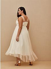 Ivory Mesh Faux Pearl Tea-Length Wedding Dress, , fitModel1-alternate