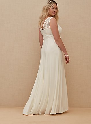 Ivory Lace Inset Sleeveless Mermaid Wedding Dress, CLOUD DANCER, alternate