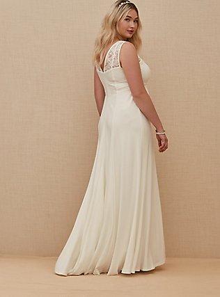 Plus Size Ivory Lace Inset Sleeveless Mermaid Wedding Dress, CLOUD DANCER, alternate