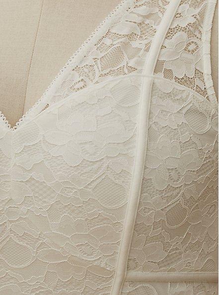 Ivory Lace Inset Sleeveless Mermaid Wedding Dress, CLOUD DANCER, alternate