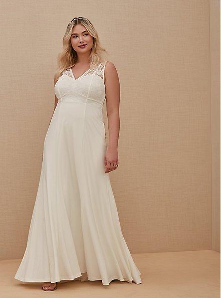 Ivory Lace Inset Sleeveless Mermaid Wedding Dress, CLOUD DANCER, hi-res