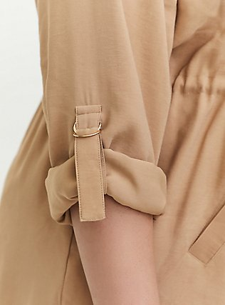 Tan Twill Drape Front Anorak, TAN/BEIGE, alternate