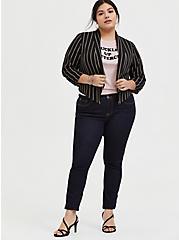 Black Stripe Crepe Open Front Blazer, DEEP BLACK, alternate