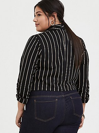 Black Stripe Crepe Open Front Blazer, DEEP BLACK, alternate