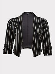 Black Stripe Crepe Open Front Blazer, DEEP BLACK, hi-res