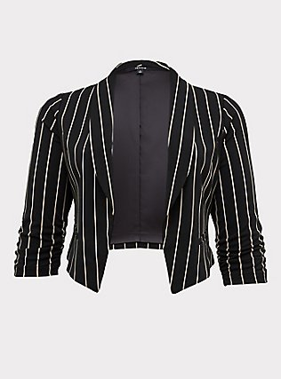 Black Stripe Crepe Open Front Blazer, DEEP BLACK, flat