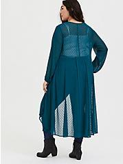 Dark Teal Swiss Dot Duster Kimono, GREEN, alternate