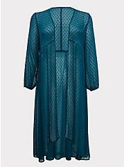 Dark Teal Swiss Dot Duster Kimono, GREEN, hi-res