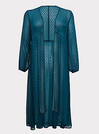 Dark Teal Swiss Dot Duster Kimono, GREEN, flat