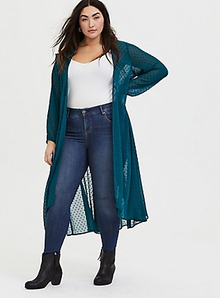 Dark Teal Swiss Dot Duster Kimono, GREEN, hi-res