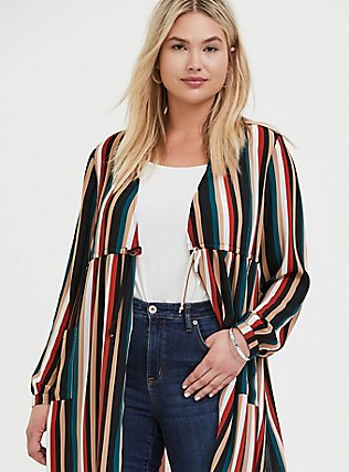 Plus Size Multi Stripe Chiffon Tie Front Duster Kimono, STRIPES, alternate