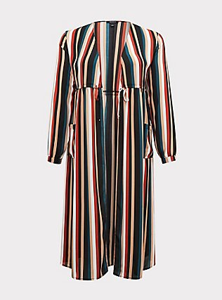 Plus Size Multi Stripe Chiffon Tie Front Duster Kimono, STRIPES, flat
