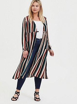Plus Size Multi Stripe Chiffon Tie Front Duster Kimono, STRIPES, hi-res