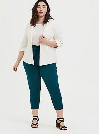 Ivory Boucle Open Front Jacket, WHITE, alternate