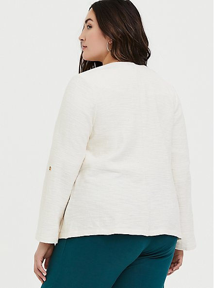 Plus Size Ivory Boucle Open Front Jacket, WHITE, alternate
