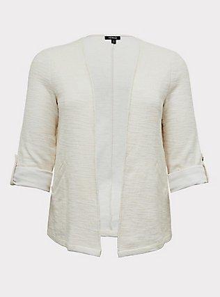 Ivory Boucle Open Front Jacket, WHITE, flat