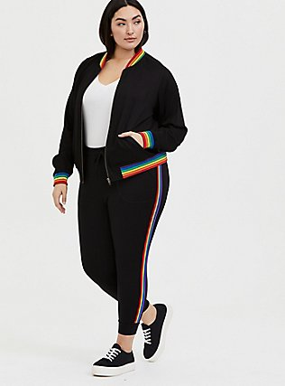 Black Twill & Rainbow Trim Bomber Jacket , RAINBOW, alternate