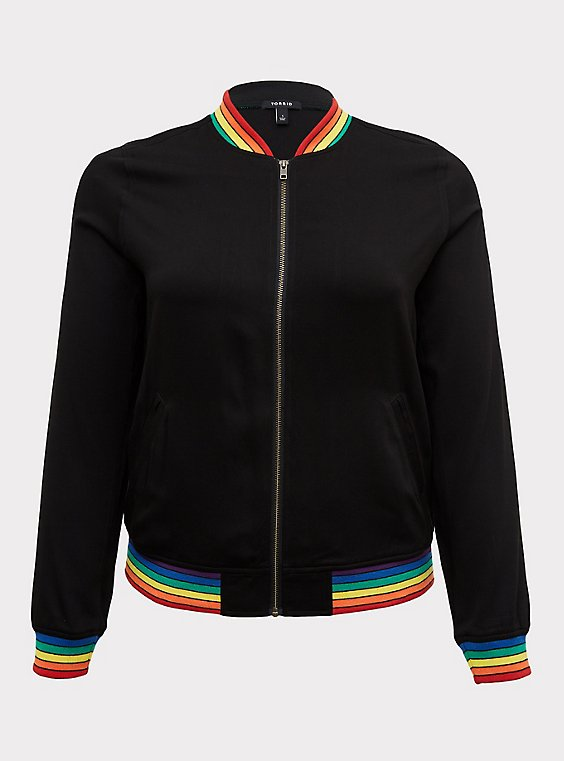 Black Twill & Rainbow Trim Bomber Jacket , , flat