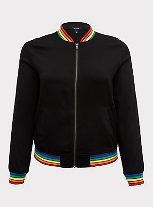 Black Twill & Rainbow Trim Bomber Jacket , RAINBOW, flat