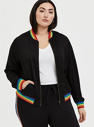 Black Twill & Rainbow Trim Bomber Jacket , RAINBOW, hi-res