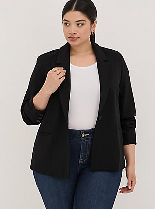 Black Premium Ponte Tailored Blazer, DEEP BLACK, alternate