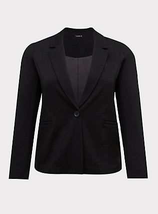 Black Premium Ponte Tailored Blazer, DEEP BLACK, flat