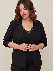 Black Premium Ponte Tailored Blazer, DEEP BLACK, hi-res