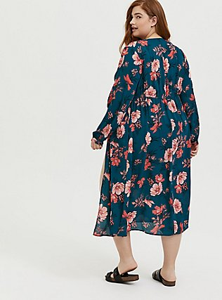 Dark Teal & Orange Floral Chiffon Tie Front Duster Kimono, FLORAL, alternate
