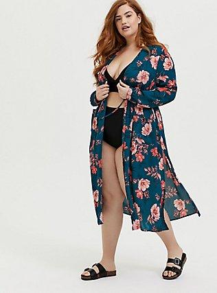 Plus Size Dark Teal & Orange Floral Chiffon Tie Front Duster Kimono, FLORAL, hi-res