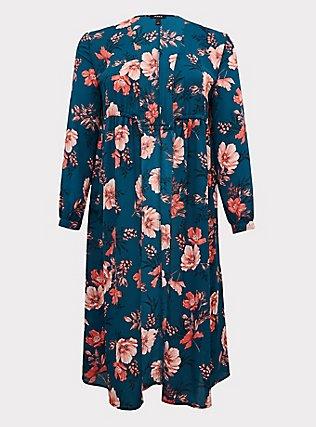 Plus Size Dark Teal & Orange Floral Chiffon Tie Front Duster Kimono, FLORAL, ls