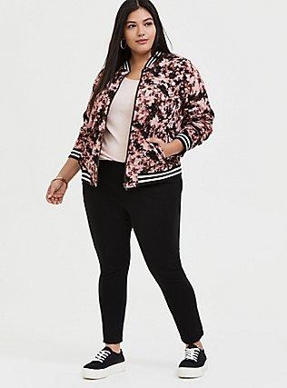 Blush Pink Tie-Dye Twill Bomber Jacket, MULTI TIE DYE, alternate