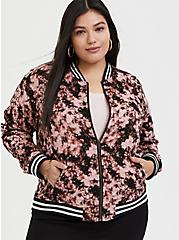 Pink Tie-Dye Twill Bomber Jacket, MULTI TIE DYE, alternate