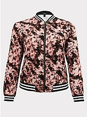Pink Tie-Dye Twill Bomber Jacket, MULTI TIE DYE, hi-res
