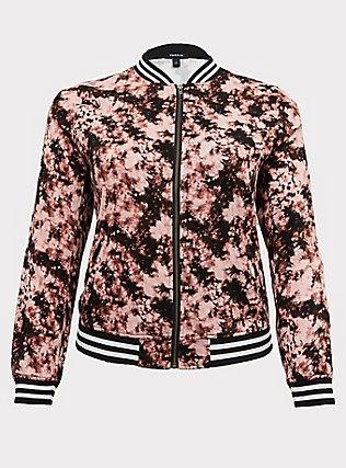 Blush Pink Tie-Dye Twill Bomber Jacket, MULTI TIE DYE, flat