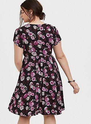 Disney Sleeping Beauty Black Floral Mini Skater Dress, MULTI, alternate