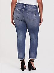 High Rise Straight Jean - Medium Wash with Frayed Hem, SANTA FE, alternate