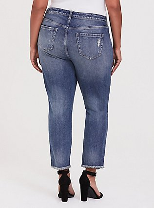 Plus Size High Rise Straight Jean - Vintage Stretch Medium Wash with Frayed Hem, SANTA FE, alternate