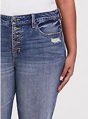 High Rise Straight Jean - Medium Wash with Frayed Hem, SANTA FE, alternate