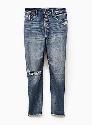 Plus Size High Rise Straight Jean - Vintage Stretch Medium Wash with Frayed Hem, SANTA FE, flat