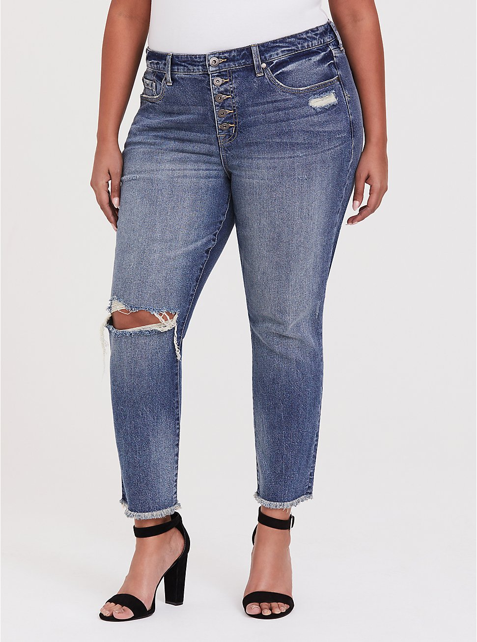 High Rise Straight Jean - Medium Wash with Frayed Hem, SANTA FE, hi-res