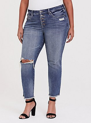 Plus Size High Rise Straight Jean - Vintage Stretch Medium Wash with Frayed Hem, SANTA FE, hi-res