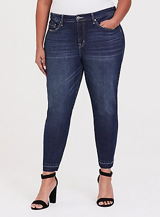 Plus Size High Rise Straight Jean - Vintage Stretch Dark Wash with Released Hem, MINESHAFT, hi-res